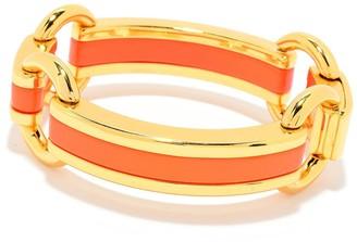 Samuel B. Gold Plated Orange Enamel Link Accent Bracelet