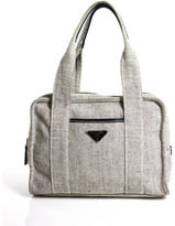 Prada Black White Canvas Leather Trimmed Pocketed Mini Satchel Tote Bag