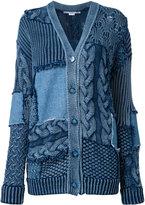 Stella McCartney Patch detail oversized cardigan - women - Cotton/Spandex/Elastane - 38