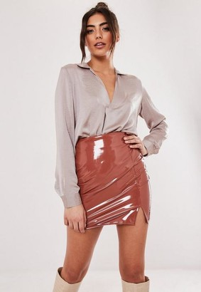 Missguided Champagne Long Sleeve Tunic Top
