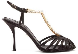 Dolce & Gabbana Caged Crystal-strap Satin Sandals - Womens - Black