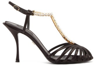 Dolce & Gabbana Crystal-strap Satin Sandals - Womens - Black