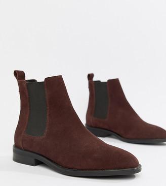 Asos Design DESIGN Aura suede chelsea ankle boots-Red