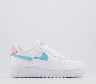 Nike Force 1 07 Trainers White Bleached Aqua Pink Rise Lxx