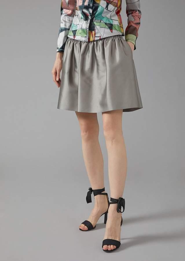 Giorgio Armani Full Circle Skirt In Glossy Shantung