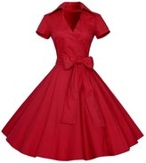 Lecimo 50s 60s Vintage Deep V-Neck Picnic Rockabilly Party Swing Dress (,Size S)