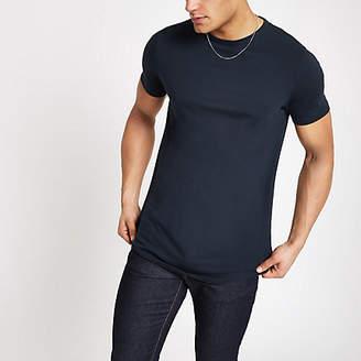 River Island Navy curved hem longline T-shirt
