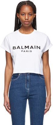 Balmain White Cropped Logo T-Shirt