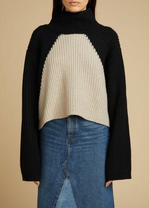 KHAITE The Marianna Sweater in Black and Powder