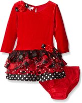 Bonnie Jean Baby Girls Velour Floral Accent Tie Christmas Dress 18M