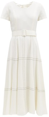 Goat Kelly Belted Topstitched Wool Midi Dress - White