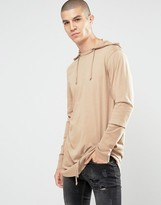 Asos Super Longline Long Sleeve T-Shirt With Hood And Hem Detail