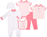 Cutie Pie Baby Pink & White Giraffes Six-Piece Layette Set