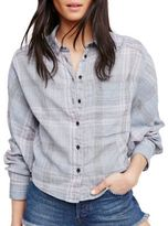 Free People Plaid Button-Front Shirt