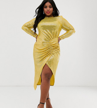 John Zack Plus bodycon maxi dress with ruched detail in yellow sequin