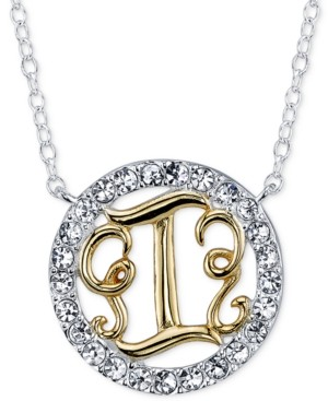 Unwritten Initial Pendant Necklaces with Crystal Pave Circle in Sterling Silver and Gold Flash