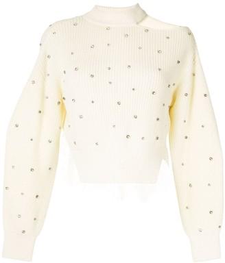 Self-Portrait Cold-Shoulder Crystal-Embellished Knitted Top