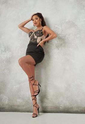 Missguided Lace Overlay Satin Mini Dress