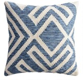 World Market Blue and Ivory Geometric Indoor Outdoor Throw Pillow