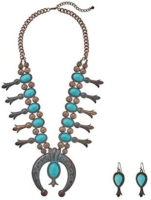 M&F Western Large Squash Blossom Necklace/Earrings Set (Copper/Patina) Necklace