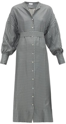 ASCENO Rome Crescent-print Belted Silk Shirt Dress - Grey Multi