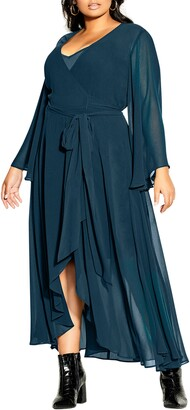 City Chic Fleetwood Long Sleeve Wrap Maxi Dress