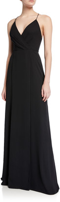 Jay Godfrey Turner V-Neck Cross-Back Spaghetti-Strap Maxi Gown w/ Slit