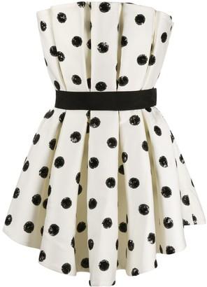 Giuseppe di Morabito Sequin Polka-Dot Pleated Mini Dress