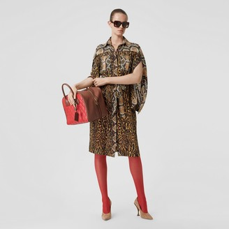Burberry Cape Sleeve Animal Print Tie-waist Shirt Dress