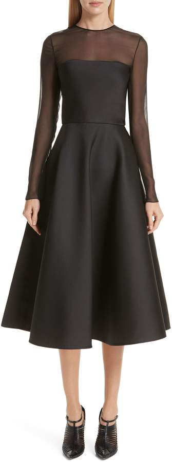 Jason Wu Collection Mesh Panel Double Face Satin Tea Length Dress