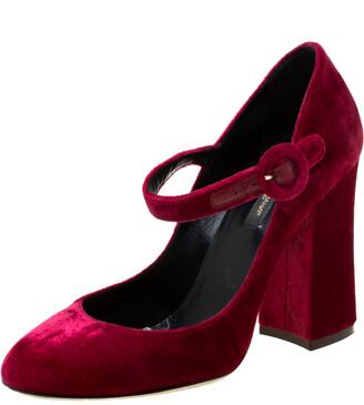 Dolce & Gabbana Burgundy Velvet Mary Jane Pumps Size 36.5