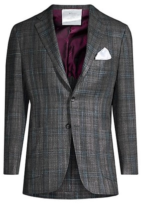 Kiton Windowpane Wool Jacket