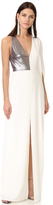 Halston Asymmetric Deep V Neck Gown