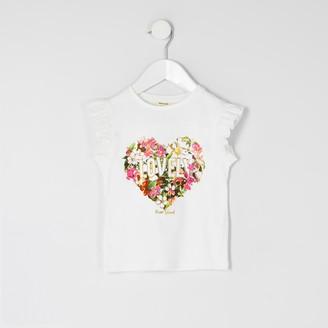 River Island Mini girls White 'lovely' foil floral T-shirt
