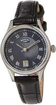 Rotary Women's Quartz Watch with Blue Dial Analogue Display and Black Leather Strap LS00337/05