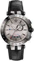 Versace 46mm Men's V-Race GMT Alarm Watch w/ Leather Strap, Gray