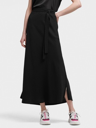 DKNY Women's Midi Skirt With Tie Front - Black - Size XS