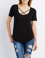 Charlotte Russe Ribbed Strappy Boyfriend Tee