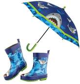 Stephen Joseph Boy's Shark Rain Boots & Umbrella Set