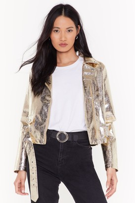 Nasty Gal Womens Glow For It Metallic Moto Jacket - Gold