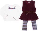 Little Lass Wine Faux Fur Vest Set - Infant, Toddler & Girls