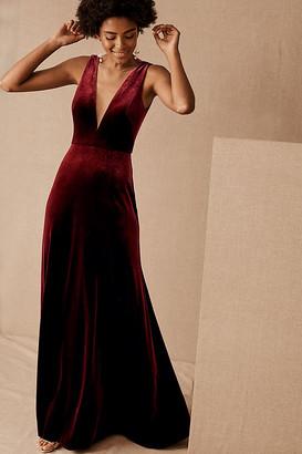 Jenny Yoo Logan Velvet Dress By in Purple Size 0