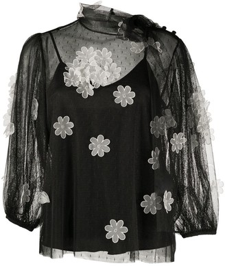 RED Valentino Sheer Flower-Applique Blouse