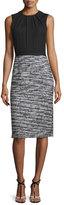 Oscar de la Renta Sleeveless Boucle Tweed Combo Dress, Black/White