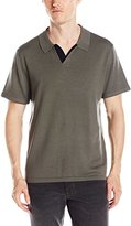 Vince Men's Wool Silk Jersey Polo Shirt with Tipping