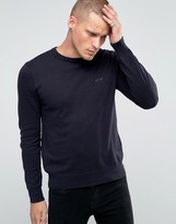 Armani Jeans Jumper With Crew Neck & Logo In Navy