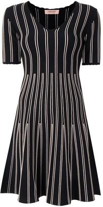 Twin-Set stripe-detail V-neck dress