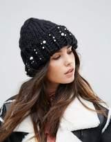 Urban Code Urbancode Pearl Embellished Knitted Beanie Hat