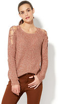 New York & Co. Lace-Up Ribbed-Knit Sweater