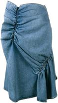 J.W.Anderson ruffled denim skirt - women - Cotton - 12
